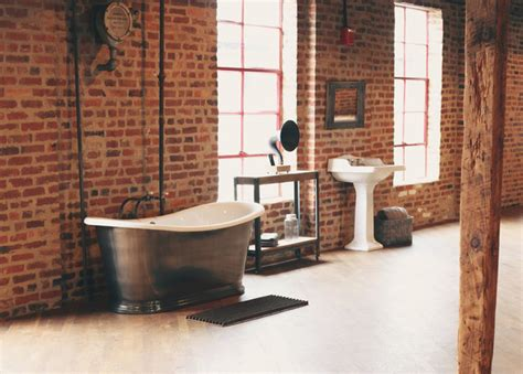 White Bathroom Decor Ideas by Industrial Open Loft Bathroom Industrial Bathroom