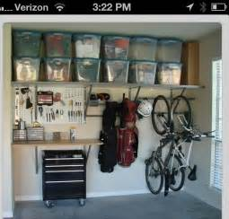 Garage Organization Budget Save Space Hang The Bikes And Store The Clutter In Totes