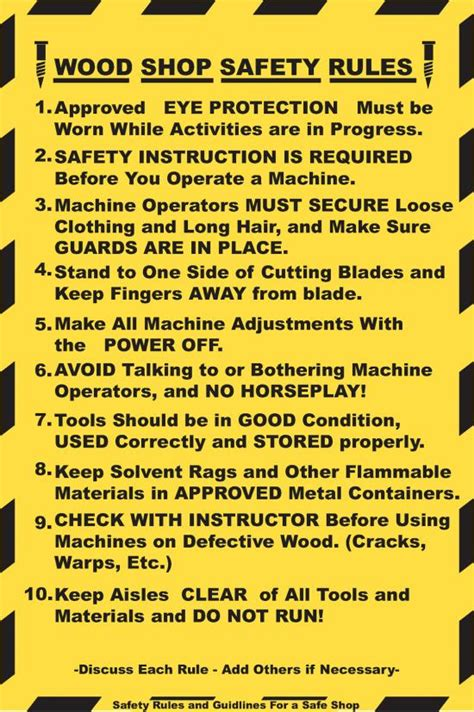 woodwork safety signs wood shop safety chirs agr 199