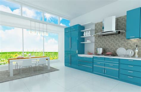 Blue Kitchen Design by Light Blue Kitchen Interior Design Rendering 3d House