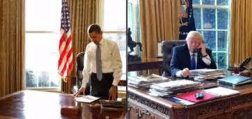 obama s oval office vs trumps a tale of two desks these photos of obama vs trump s