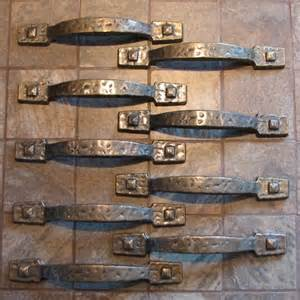 vintage hammered rustic cabinet drawer pulls handles set of 9