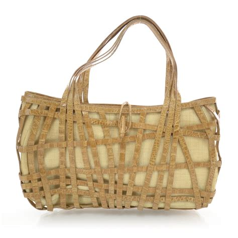 Nancy Gonzalez Latticework Crocodile Tote by Nancy Gonzalez Raffia Crocodile Tote 34742