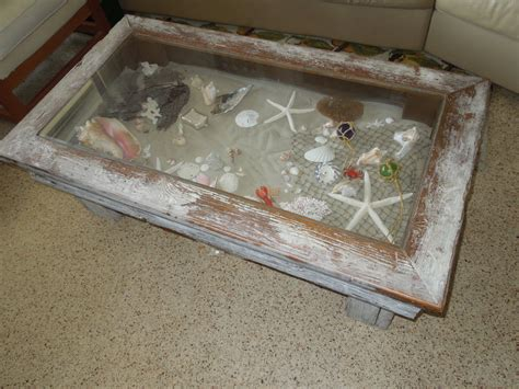 coastal coffee table shadow box style green