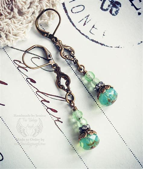green opal earrings green opal filigree earrings from the vintage