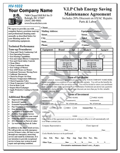 Hvac Maintenance Contract Forms Free Printable Documents Hvac Preventive Maintenance Template