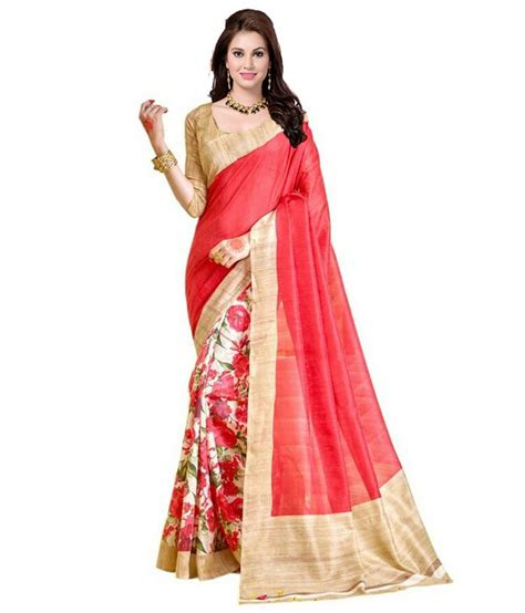Gfs Blouse buy pink printed silk saree with blouse