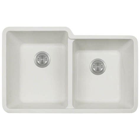 white composite kitchen sinks polaris sinks undermount composite 33 in double bowl
