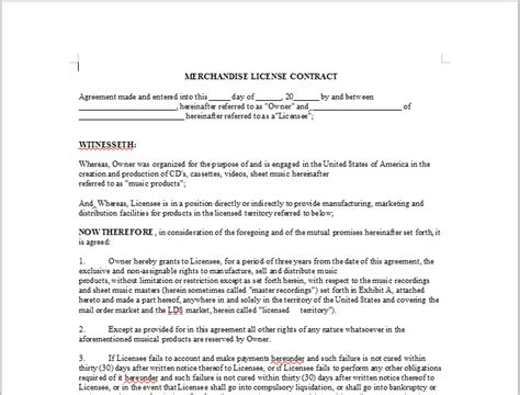 telework agreement template merchandise license contract onlinemusiccontracts