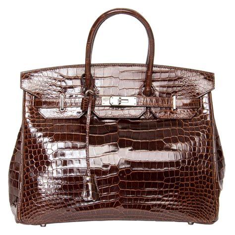 herm 232 s birkin brown shiny croco bag 35 cm for sale at 1stdibs