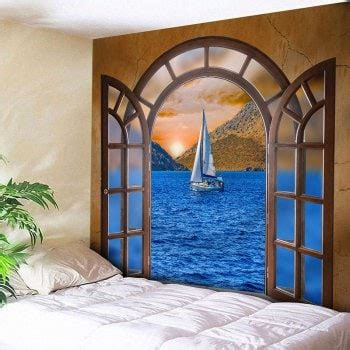 Sailboat Windows Designs 2018 Window Scenery Sailboat At Sea Print Wall Decor Tapestry Colormix W Inch L Inch In Wall