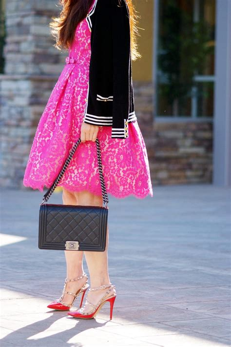 Lovely Lace: Pink Lace Dress and Valentino Rockstud Shoes   Hallie Daily