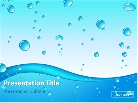 template ppt water free download blue water drops abstract background powerpoint