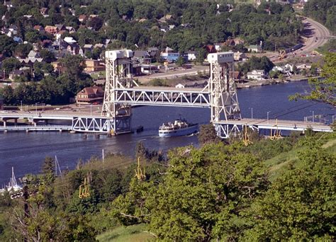 view of the lift bridge connecting houghton and hancock - Boat Lifts Quincy Michigan