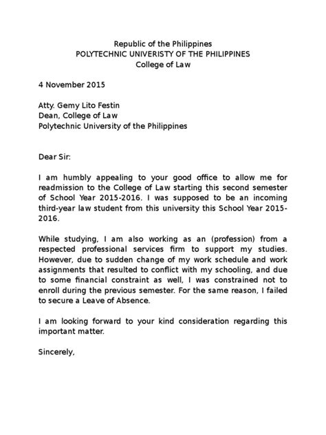 Letter Of Intent Sle For Leave Of Absence Sle Letter Of Intent To Return Pup Col Docshare Tips