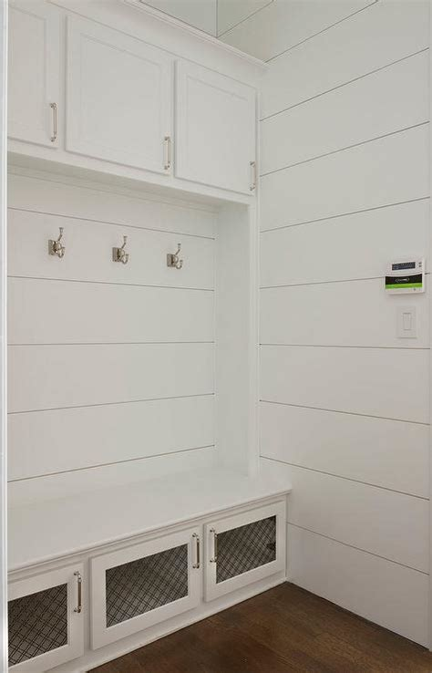 laundry room bench white mudroom bench with metal lattice storage cabinet