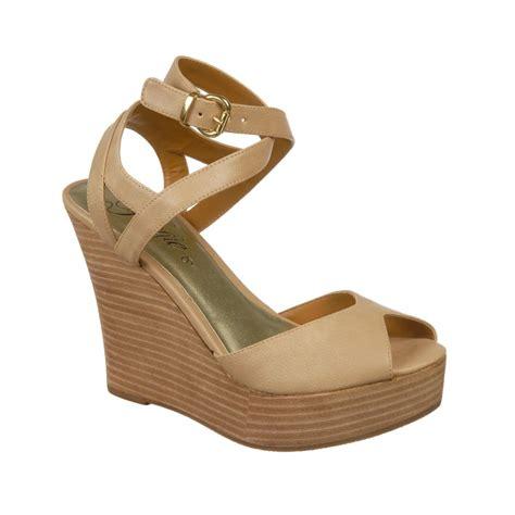 fergie sandals fergie queenie wedge sandals in beige blush lyst