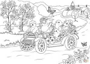 easter coloring pages activity village easter chickens in the retro car are leaving the village
