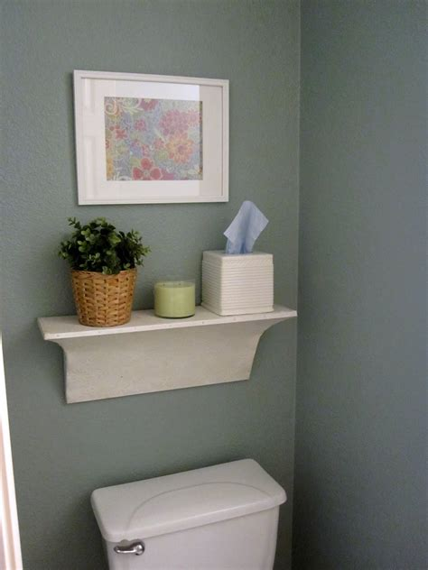 Ceramic Wall Mounted Shelf Over Toilet In Gray Bathroom Bathroom Shelves Above Toilet