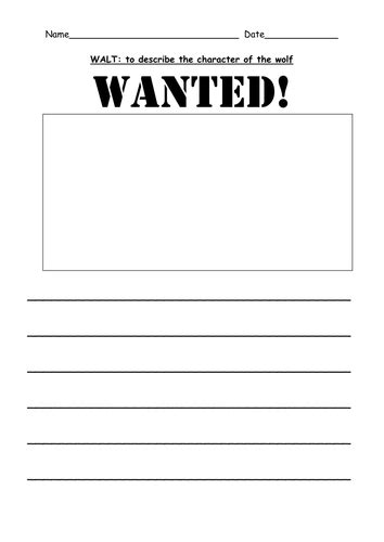 printable wanted poster for the big bad wolf wolf wanted poster by shabbychic teaching resources tes