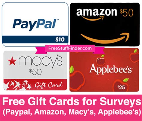 How To Earn Paypal Gift Cards - earn free gift cards for surveys paypal amazon macy s