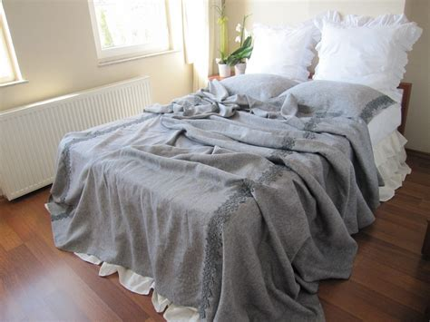 linen coverlet grey shabby chic bedding gray linen queen or king size