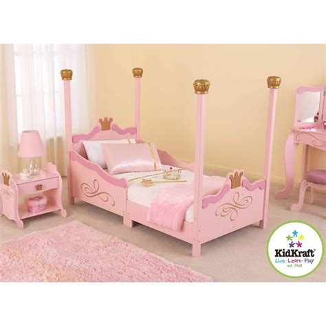 kids princess bed kidkraft princess girls toddler bed in pink 76121