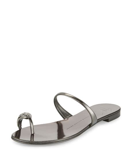 giuseppe zanotti toe ring sandal giuseppe zanotti metallic toe ring flat sandal