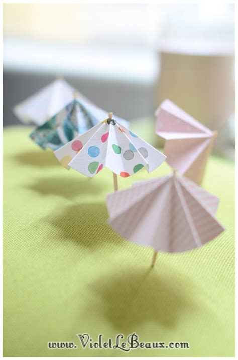 How To Make A Small Paper Umbrella - how to make paper drink umbrellas violet lebeaux