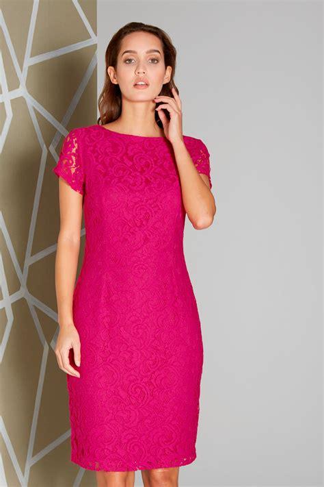 Simoneta Original Pink Dress Size 9 lace v back dress in magenta originals uk