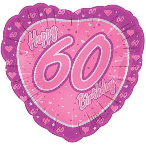 Balon Foil Happy Birthday Size 60 Cm 18 quot happy 60th pink shaped foil balloon partyrama co uk