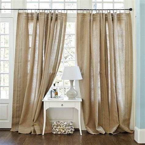 fringed burlap curtains antibes burlap panel with taped border by ballard designs