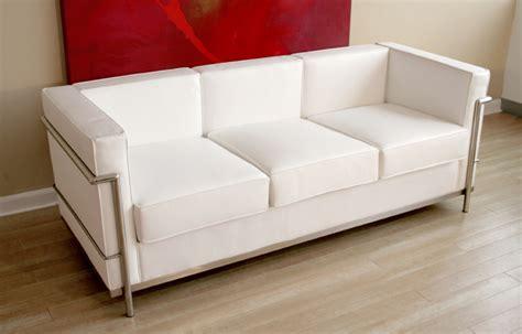 wholesale interiors le corbusier white leather sofa