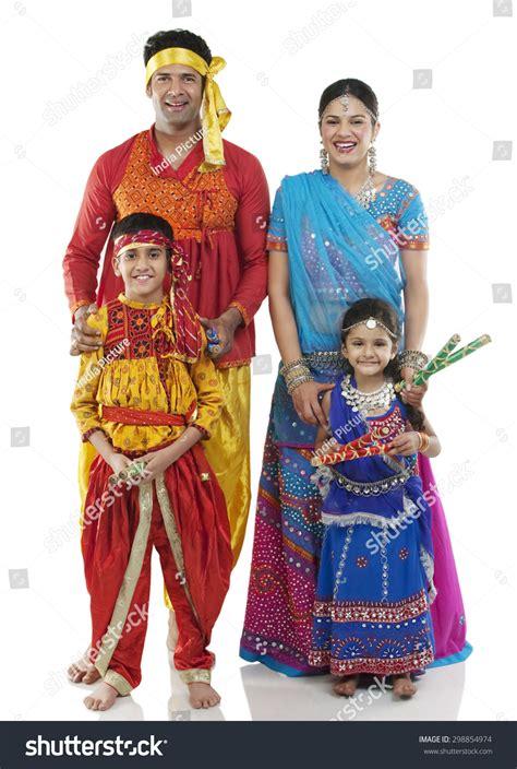 Gujarat Dress gujarati family traditional attire stock photo 298854974