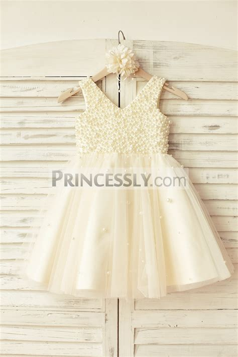 beaded flower dresses v neck chagne tulle pearl beaded wedding flower