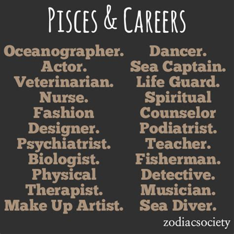 zodiac society pisces career ideas
