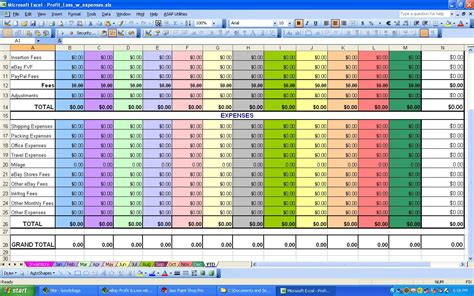 Monthly Expense Spreadsheet by Ebay Profit Loss With Monthly Expense Spreadsheet
