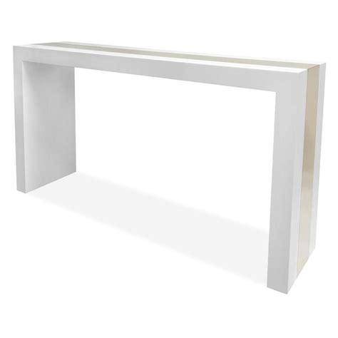White Console Table White Lacquer Laminate Gold Stripe Console Table