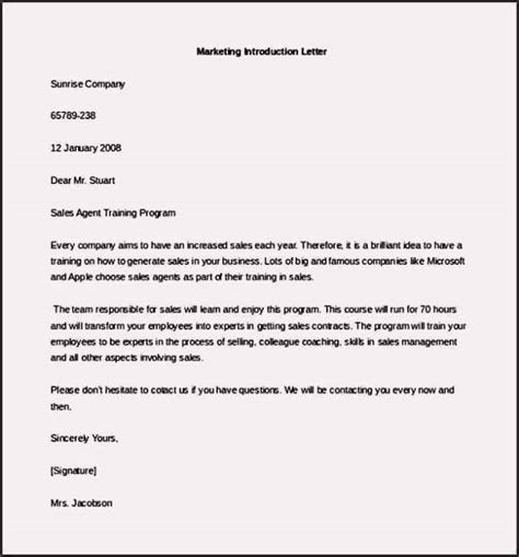 free marketing letter of introduction template exle