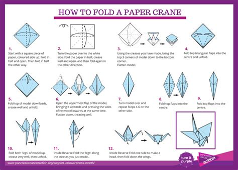 Fold Paper Crane Origami - make it purple 183 pancreatic cancer