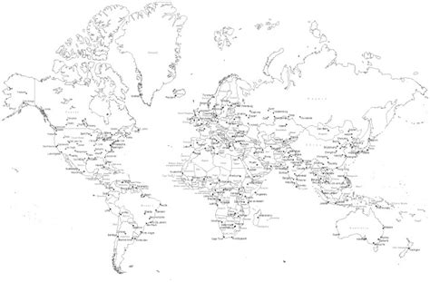 printable world map with country names black and white map of world black and white country names world map