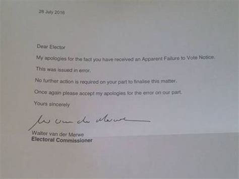 Apology Letter Copy Embarrassing Worry As Gladstone Voters Incorrectly