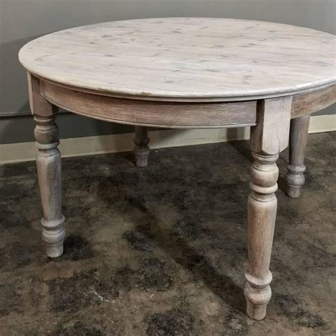 Antique Country French Round Whitewashed Dining Or Centre Antique Country Dining Table