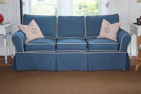 nautical couches sofa slipcover using sunbrella sapphire blue with vellum