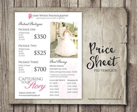 wedding photography price guide uk wedding price sheet photography template photographer price