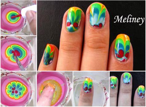 nail art tutorial in water wonderful diy rainbow marble nail art