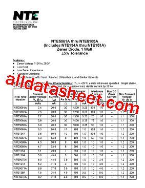 1 2 watt zener diode datasheet nte5070a datasheet pdf nte electronics