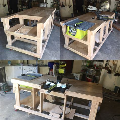 chop saw bench designs quick and easy mobile workstation with table saw and miter
