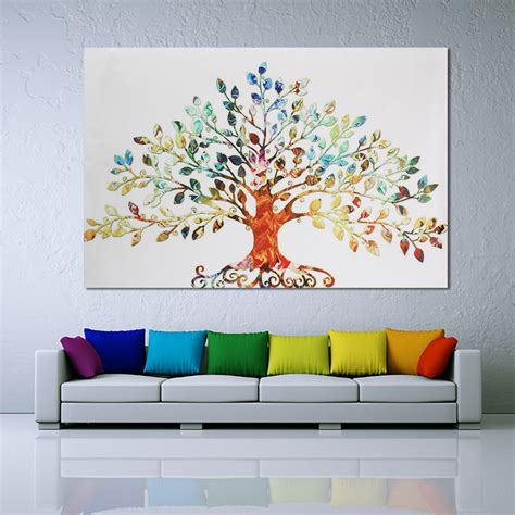 Canvas Painting For Home Decoration | 75x50cm picture abstract colorful leafy tree unframed