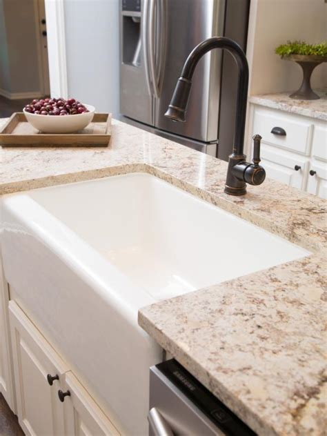 Top Kitchen Faucet farm sink in renovated kitchen hgtv